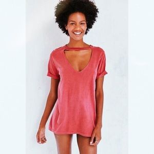 UO Truly Madly Deeply V-Neck Cut Out T-Shirt